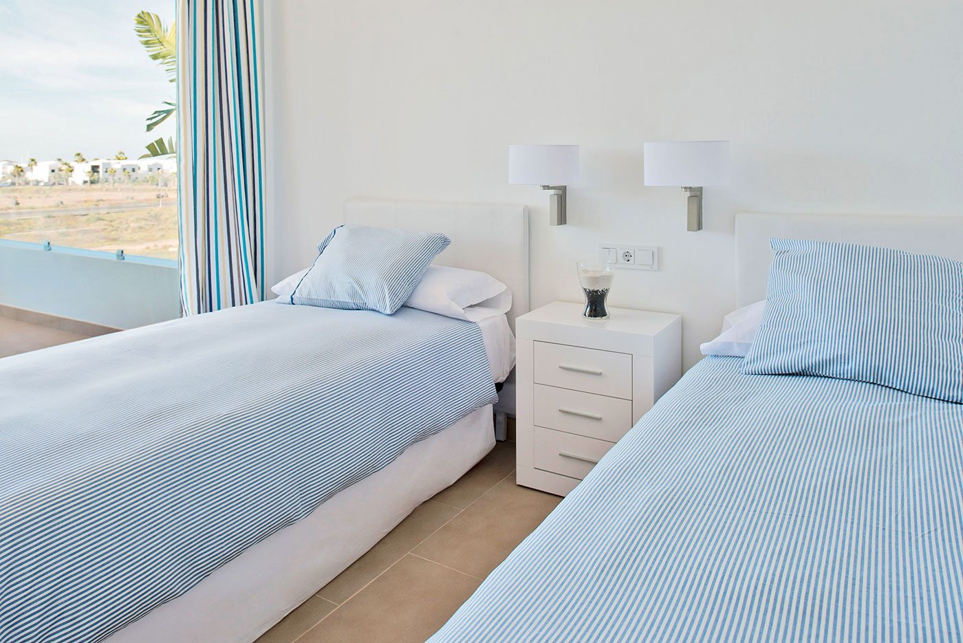 Villas-de-la-Marina-twin-bedroom-sea-view
